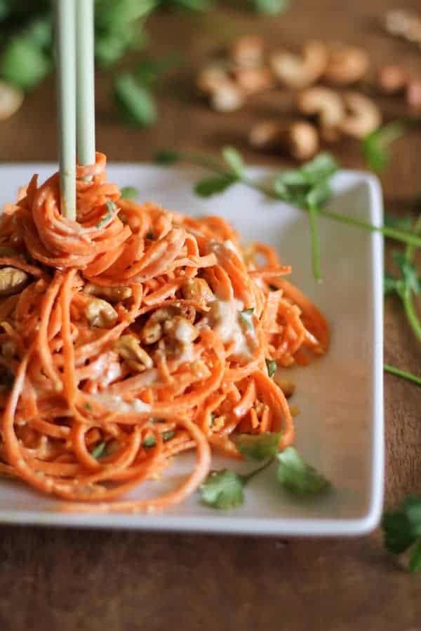 Raw Carrot Pasta Ginger Lime Peanut Sauce