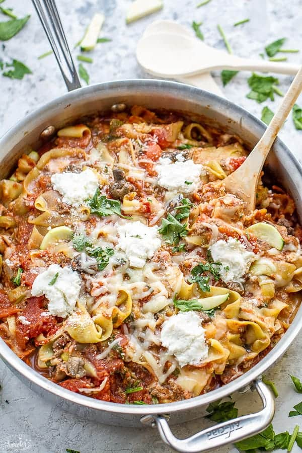 One Pan Skillet Lasagna with Ribbon Zucchini Noodles