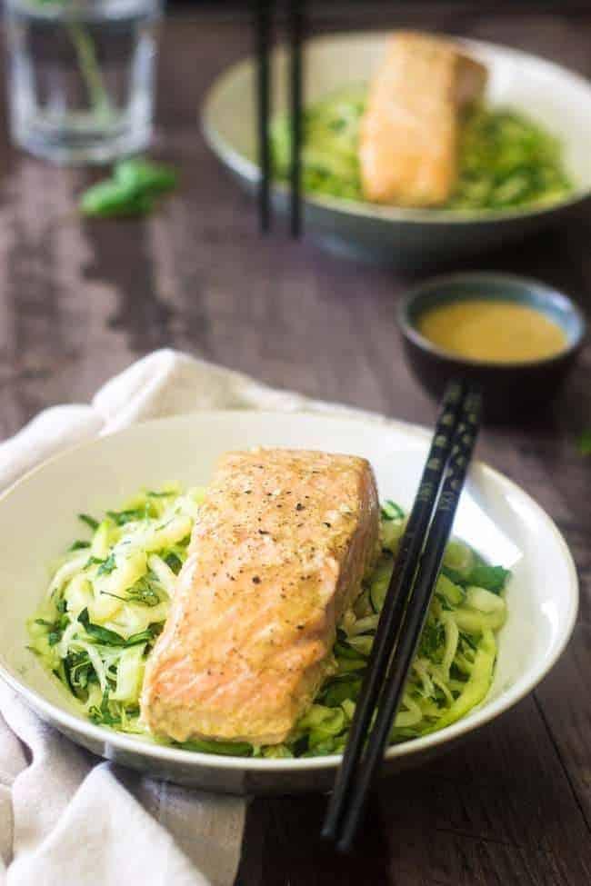 Zucchini Noodles Coconut Curry Salmon