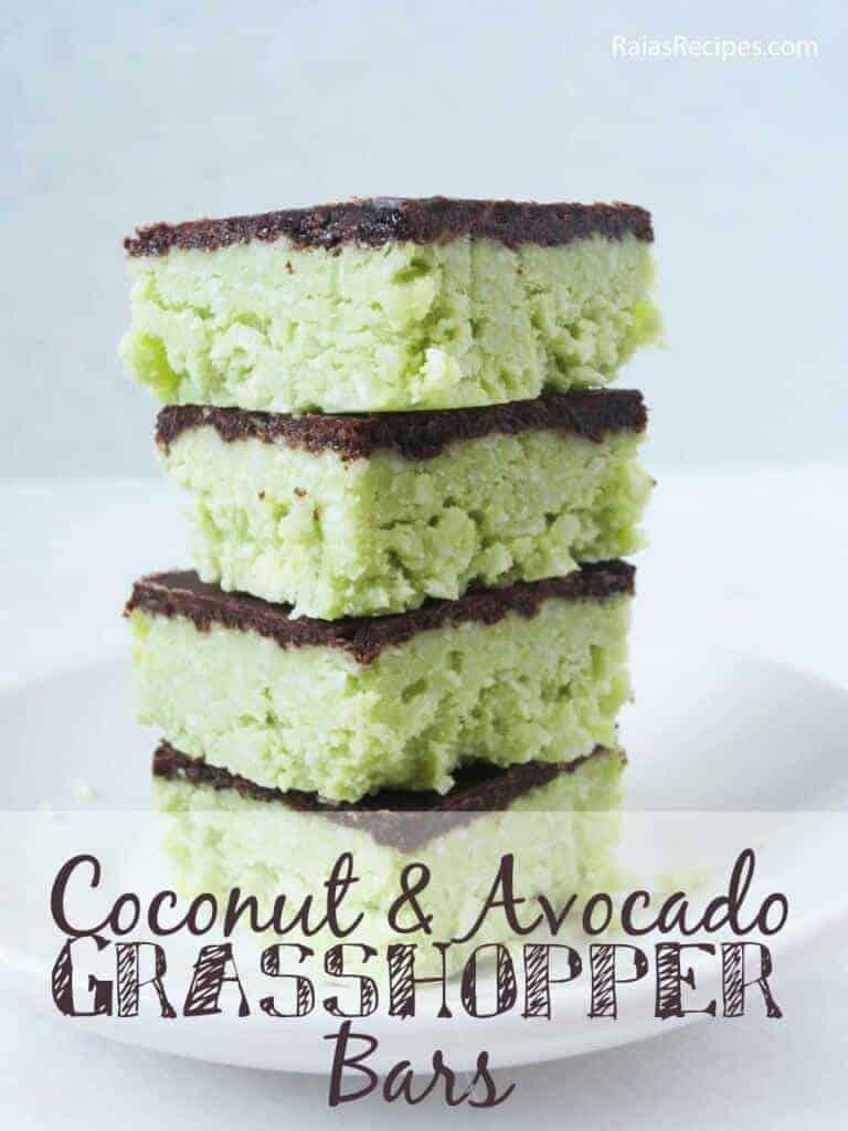 No-Bake Coconut Avocado Grasshopper Bars