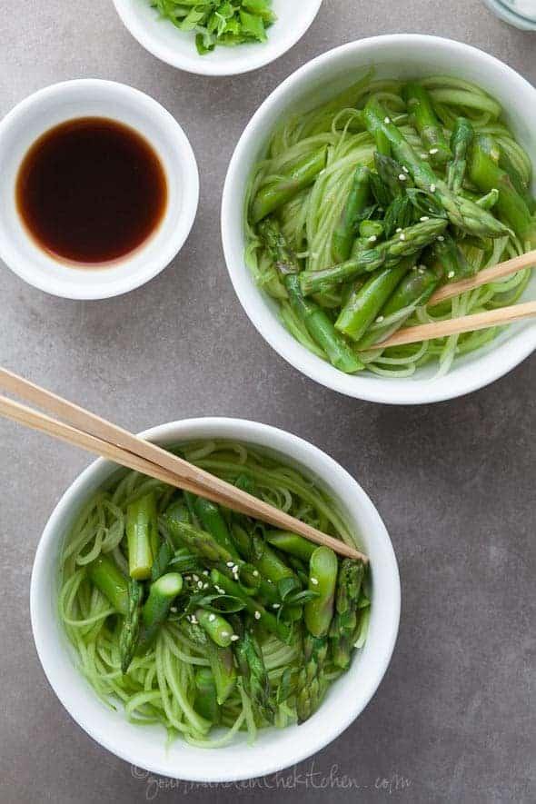 Cucumber Noodles Asparagus Ginger Scallion Sesame