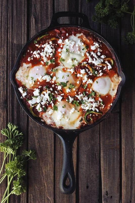Zucchini Noodle Shakshuka Eggs Poached Spicy Tomato
