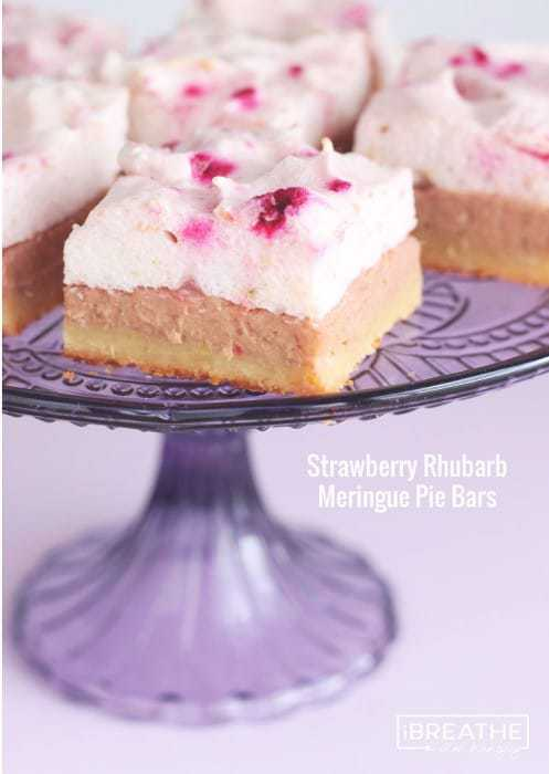 Strawberry Rhubarb Meringue Bars