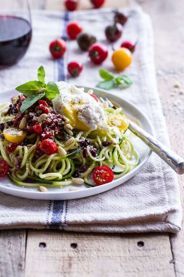 15-Minute Zucchini Pasta with Poached Eggs and Quick Heirloom Cherry Tomato Basil Sauce