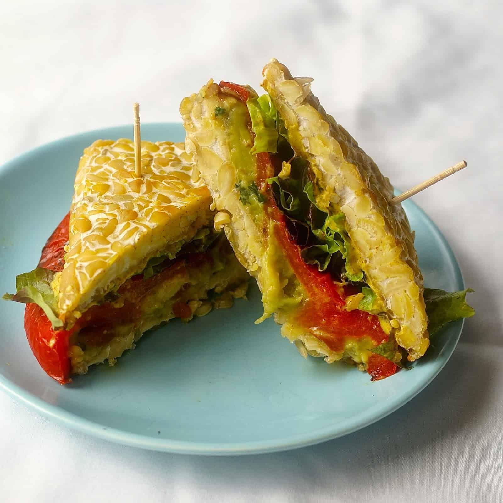 "Tempeh 'Bread"" and My Kitchen Sink Sandwich"