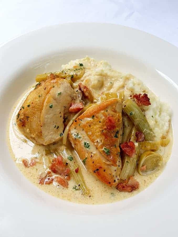 Creamy Low-Carb Chicken Breasts, Fennel & Bacon With A Cauliflower And Nutmeg Mash