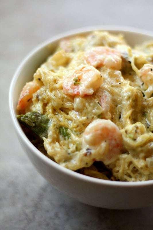 Spaghetti Squash Shrimp Alfredo