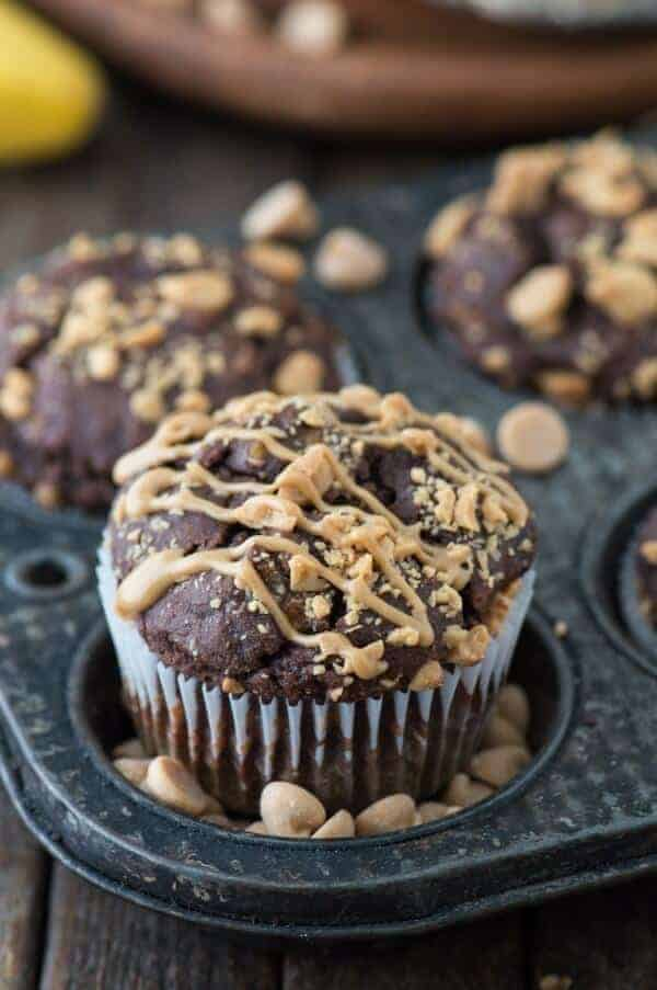 Healthy Chocolate Peanut Butter Chip Muffins