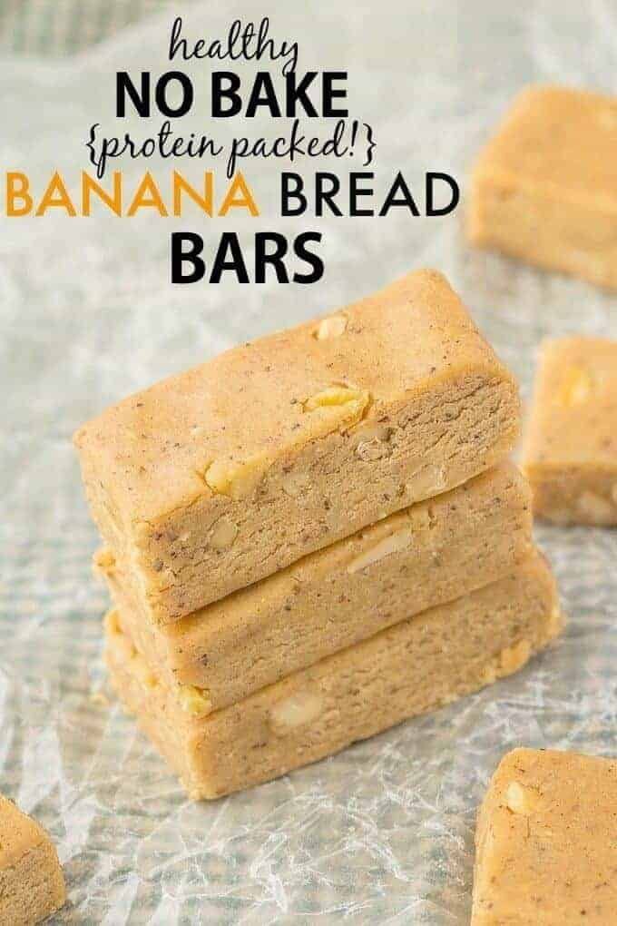No Bake Banana Bread Protein Bars