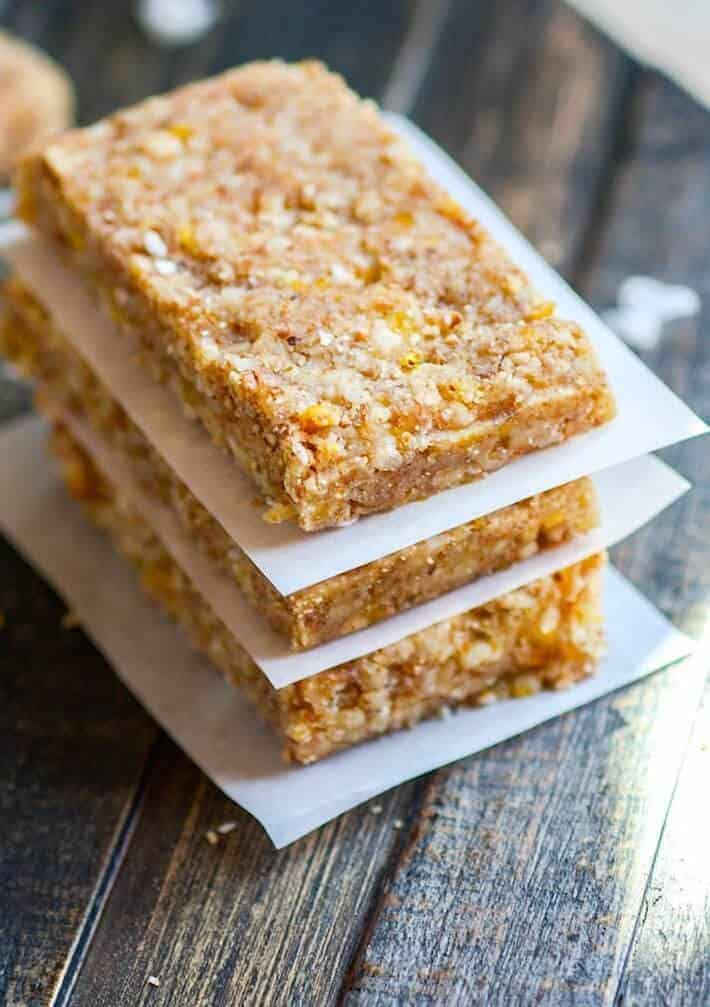 Paleo Mango Coconut Almond Bars with Complete Protein