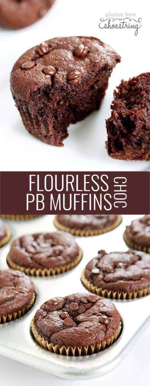 Flourless Chocolate Peanut Butter Muffins