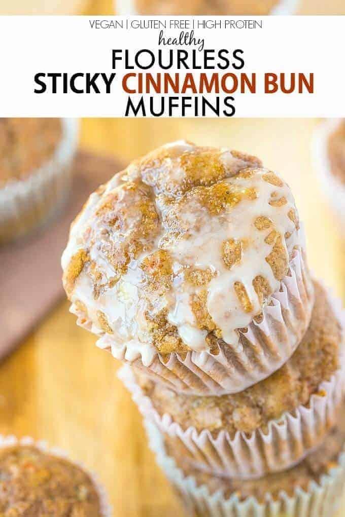 Healthy Flourless Sticky Cinnamon Bun Muffins