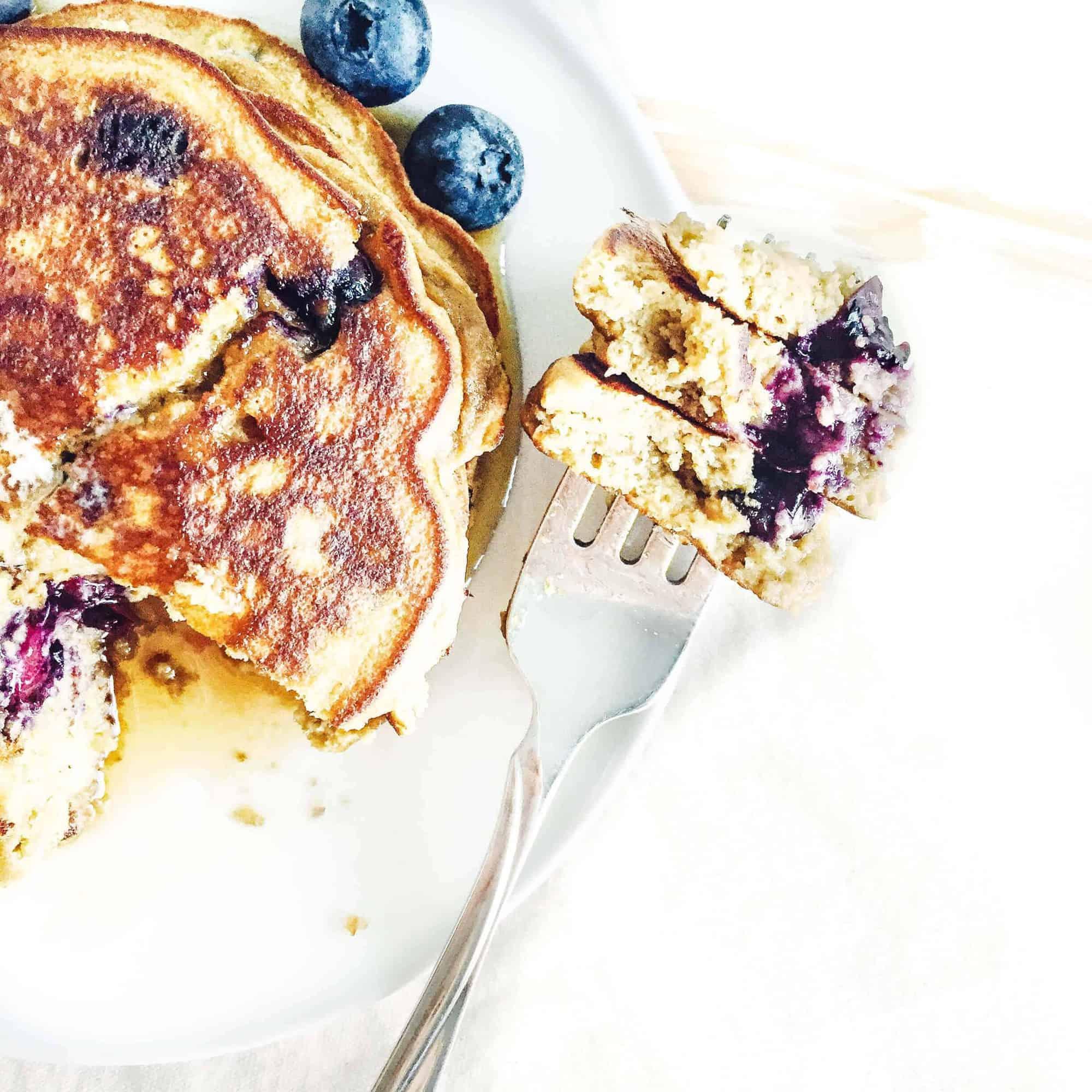 Fluffy Coconut Flour Blueberry Pancakes