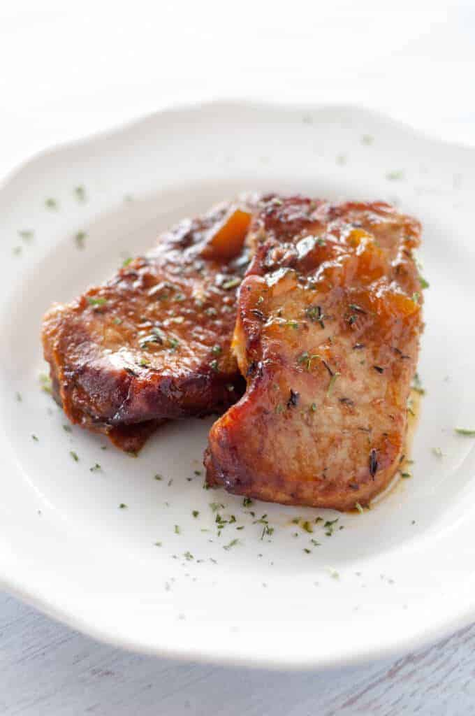 Paleo Slow Cooker Peach Glazed Pork Chops