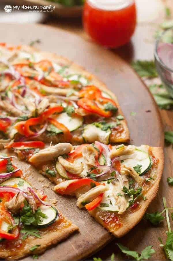 Paleo Thai Chicken Pizza Recipe With Paleo Sweet Chili Sauce