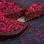 Low-Carb Dark Chocolate Raspberry Fudge Cake
