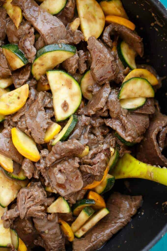 Beef and Zucchini Stir Fry with Roasted Broccoli