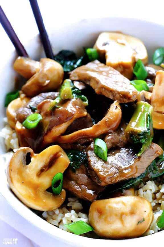 Ginger Beef, Mushroom, & Kale Stir-Fry