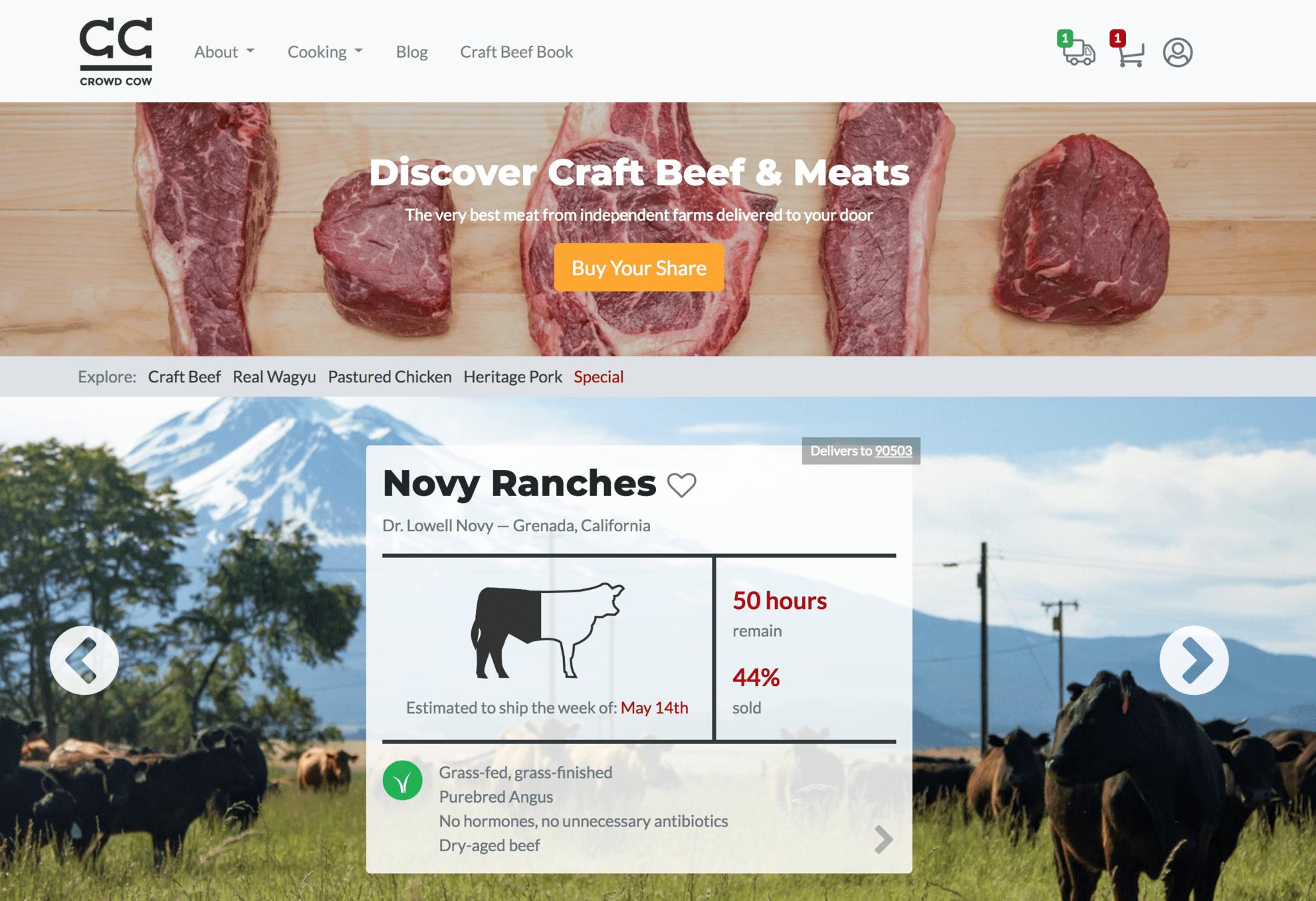 Crowd Cow website